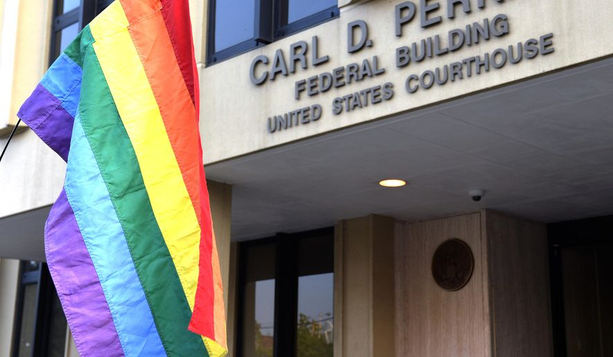 A protester waives a rainbow flag outside the Carl D. Perkins Federal Building in Ashland, Ky., Thursday, Sept. 3, 2015. (AP Photo/Timothy D. Easley)