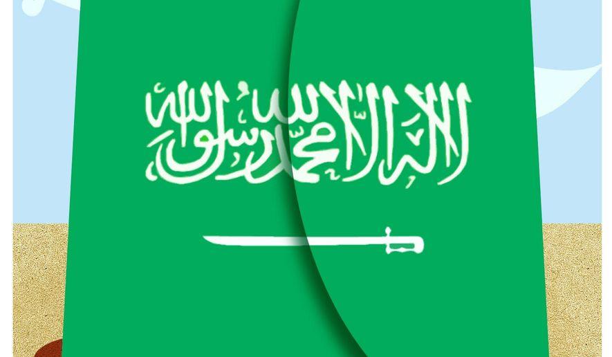 Illustration critical of Saudi Arabia's human rights record by Alexander Hunter/The Washington Times
