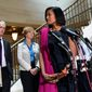 Former Hillary Rodham Clinton aide Cheryl Mills (right) looks at House Select Committee on Benghazi Chairman Trey Gowdy and ranking member Rep. Elijah Cummings as she speaks to reporters on Capitol Hill. The committee's investigation has widened in recent months to focus on Clinton's use of a private email account and server. (Associated Press)