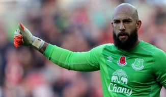 Everton's goalkeeper Tim Howard during their English Premier League soccer match against Sunderland at the Stadium of Light, Sunderland, England, Sunday, Nov. 9, 2014. (AP Photo/Scott Heppell)