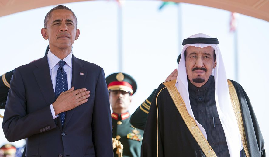 "President Obama's first stop will be to Saudi Arabia, where he will meet with King Salman bin Abdulaziz Al Saud, after calling Persian Gulf states ""free riders."" (Associated Press/File)"