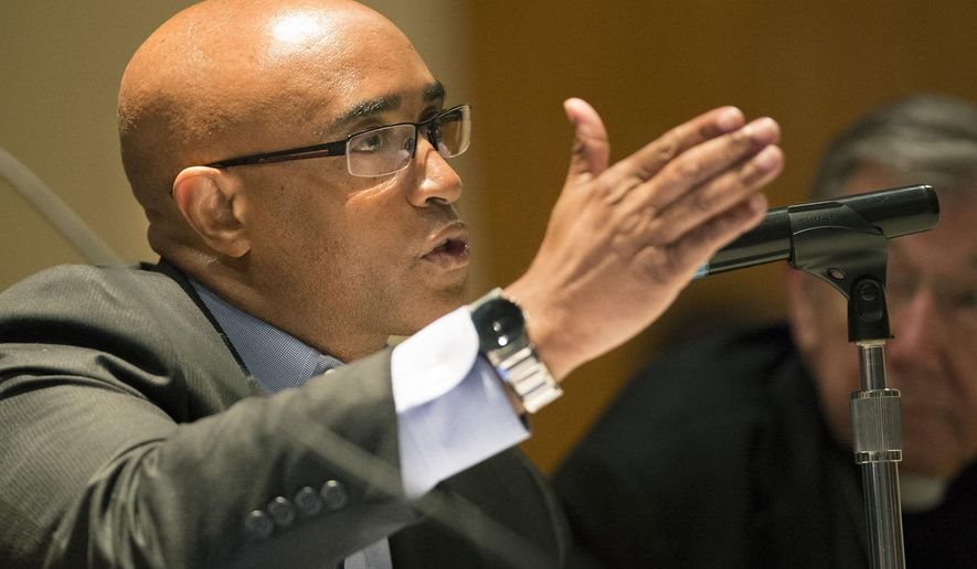 Former Baltimore Police commissioner Anthony Batts answers a question during a panel discussion examining the unrest in Baltimore that led to his being fired Wednesday, Sept. 2, 2015, at Mount Saint Mary's University in Emmitsburg, Md. Batts says the police department failed to improve public trust under his leadership. (Graham Cullen /The Frederick News-Post via AP) MANDATORY CREDIT
