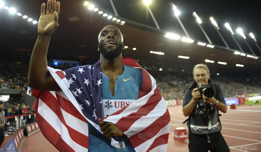 LaShawn Merritt from USA reacts after winning the men's 400m race during the IAAF Diamond League athletics meeting in the Letzigrund stadium in Zurich, Switzerland, Thursday, Sept.3, 2015. (Jean-Christophe Bott /Keystone via AP)