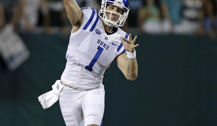 Duke quarterback Thomas Sirk (1) passes in the first half of an NCAA college football game against Tulane in New Orleans, Thursday, Sept. 3, 2015. (AP Photo/Gerald Herbert)