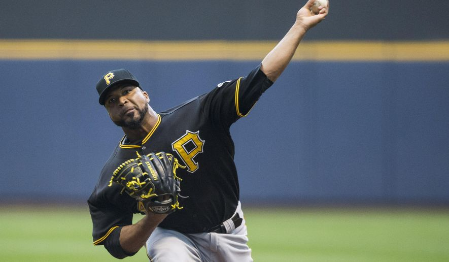 Pittsburgh Pirates' Francisco Liriano pitches to Milwaukee Brewers batter during the first inning of a baseball game Thursday, Sept. 3, 2015, in Milwaukee. (AP Photo/Tom Lynn)