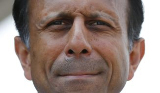 Republican presidential candidate and Louisiana Gov. Bobby Jindal speaks at the Iowa State Fair in Des Moines, Iowa, on Aug. 22, 2015. (Associated Press) **FILE**