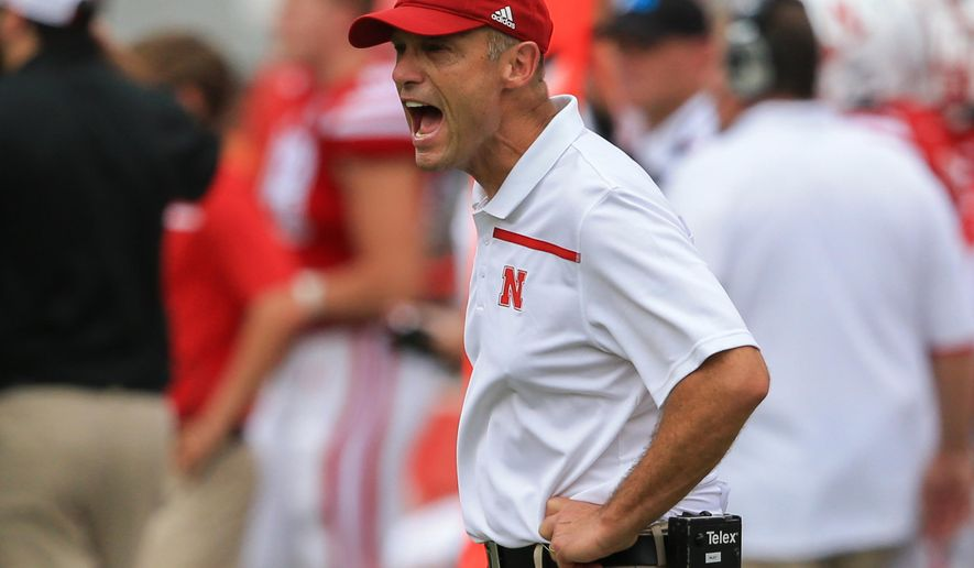 Nebraska head coach Mike Riley yells at officials during the first half of an NCAA college football game against BYU in Lincoln, Neb., Saturday, Sept. 5, 2015. (AP Photo/Nati Harnik)