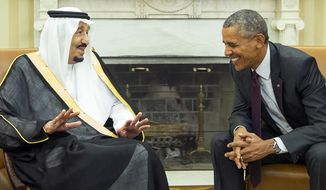 President Obama meets with King Salman of Saudi Arabia in the Oval Office of the White House on Sept. 4, 2015. (Associated Press) **FILE**