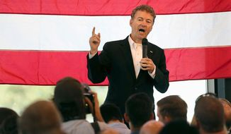 Sen. Rand Paul, Kentucky, Republican, has shown he is willing to gum up the legislative process. Mr. Paul led filibusters challenging the Obama administration's drone policy and against renewing some snooping powers in the Patriot Act. (The Deseret News via Associated Press)