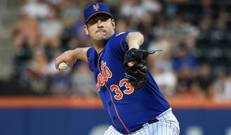 New York Mets pitcher Matt Harvey vowed Sunday to pitch in the postseason. (Associated Press)