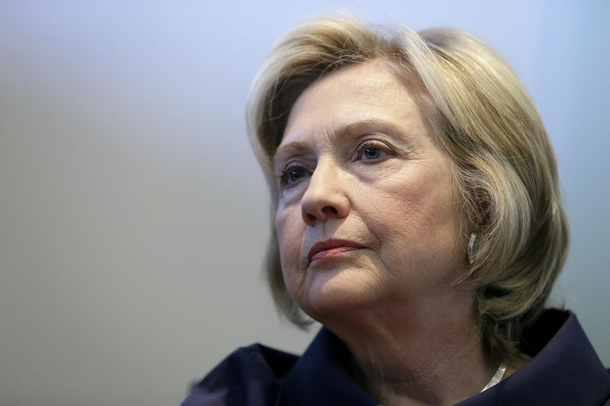 Democratic presidential candidate Hillary Rodham Clinton speaks during an interview with The Associated Press, on Sept. 7, 2015, in Cedar Rapids, Iowa. (Associated Press) **FILE**