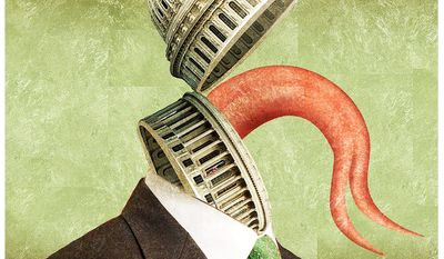 Illustration on the U.S. Congress' history of lying on spending by Alexander Hunter/The Washington Times