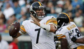 FILE - In this Aug. 14, 2015, file photo, Pittsburgh Steelers quarterback Ben Roethlisberger (7) looks for a receiver during the first half of an NFL preseason football game against the Jacksonville Jaguars in Jacksonville, Fla. Roethlisberger cashed in on the finest season of his career by getting a new contract worth around $100 million. (AP Photo/Stephen B. Morton, File)