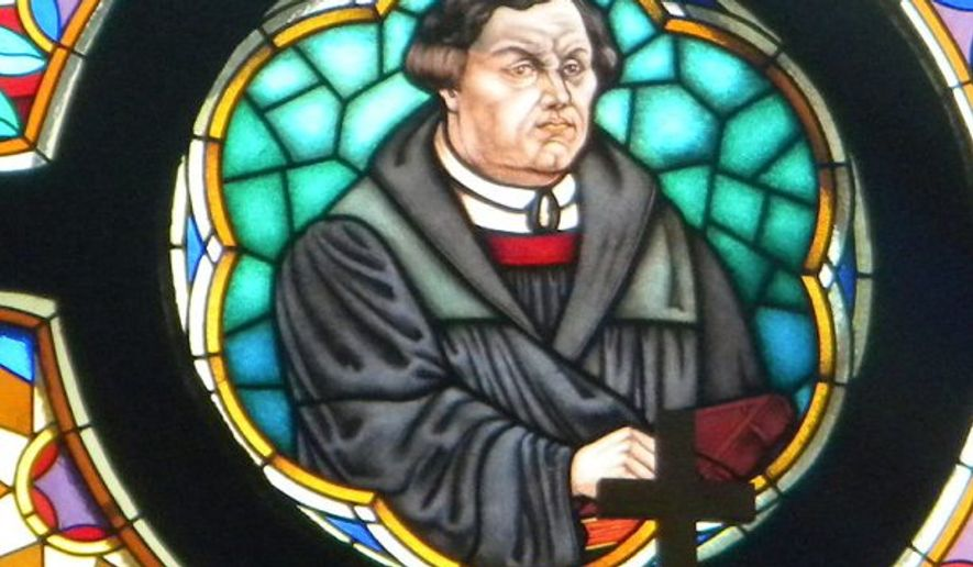 Martin Luther on glass in church of Martin Luther in Murska Sobota (Slovenia).