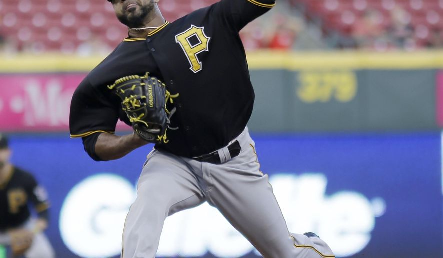 Pittsburgh Pirates starting pitcher Francisco Lirano  throws in the first inning of a baseball game against the Cincinnati Reds, Tuesday, Sept. 8, 2015, in Cincinnati. (AP Photo/Tony Tribble)