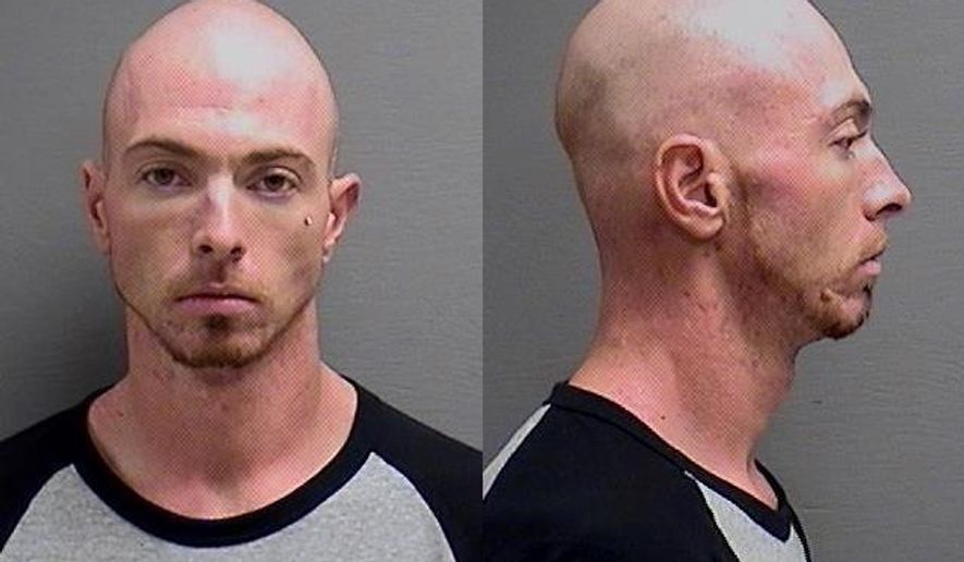 This booking photo released by the Cascade County Sheriff's Office, shows Branden Conrad Miesmer, 26, suspected of shooting and killing a man in Great Falls, Mont., sometime Sunday night or early Monday, Sept. 7, 2015. Police said he then forced two people to drive him to Helena. Police believe Miesmer is wandering armed and barefoot and possibly cold and hungry in the hills north of Helena. They were searching Tuesday, Sept.. 8, 2015, near Hauser Dam to the suspect, said Lewis and Clark County Sheriff Leo Dutton. (Cascade County Sheriff's Office via AP)