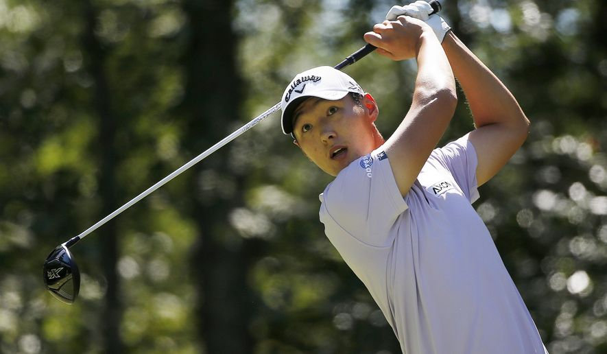 Danny Lee, of New Zealand, tees off on the second hole during the third round of the Deutsche Bank Championship golf tournament in Norton, Mass., Sunday, Sept. 6, 2015. (AP Photo/Michael Dwyer)