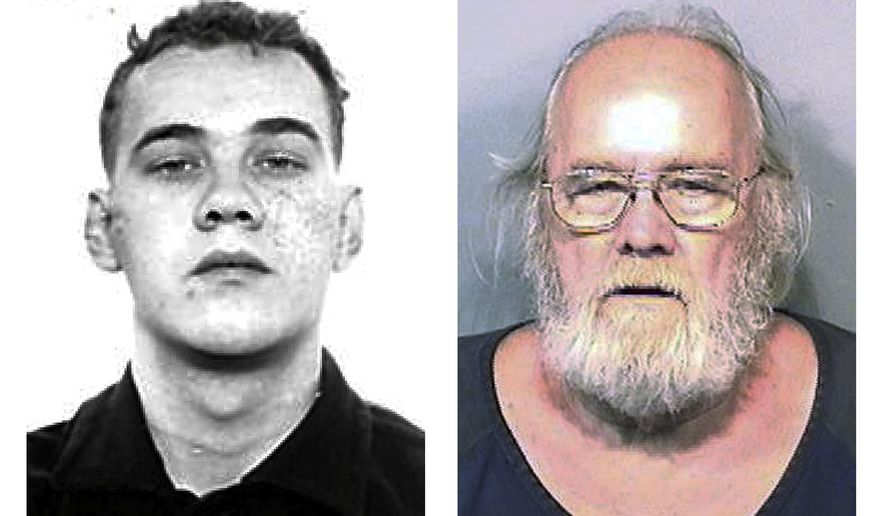 This combination photo shows Harold Frank Freshwaters, left, in a Feb. 26, 1959, Ohio State Reformatory photo provided by the U.S. Marshals Service, and right, in a May 4, 2015, booking photo provided by the Brevard County (Fla.) Sheriff's Office. Freshwaters, 79, of Akron, Ohio, disappeared from a northern Ohio prison camp in 1959 while serving time for manslaughter and was found this year in Florida, but won't face new escape-related charges in Ohio. (AP Photo/Ohio State Reformatory and Brevard County Sheriff's Office)