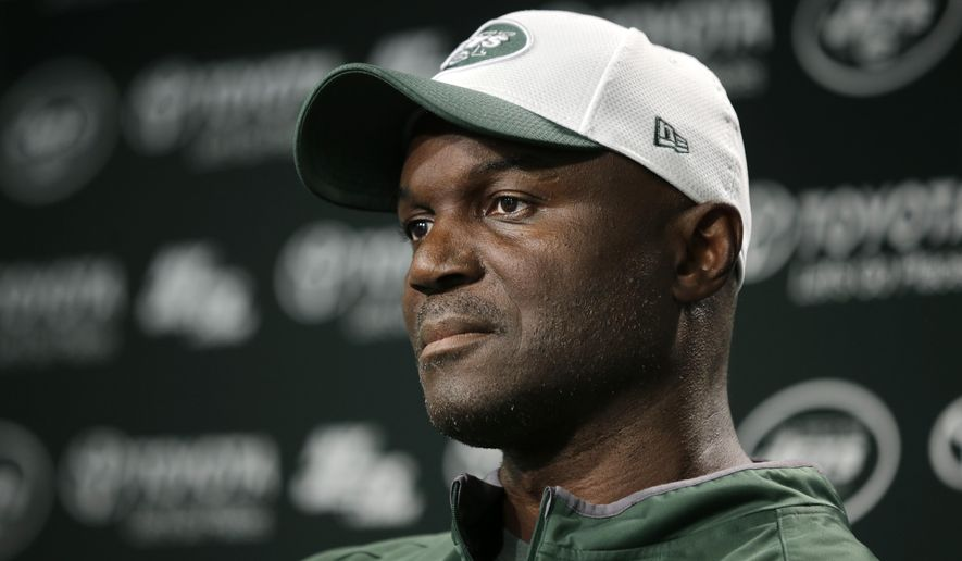 New York Jets head coach Todd Bowles listens to a question after NFL football practice Monday, Sept. 7, 2015, in Florham Park, N.J. (AP Photo/Mel Evans)