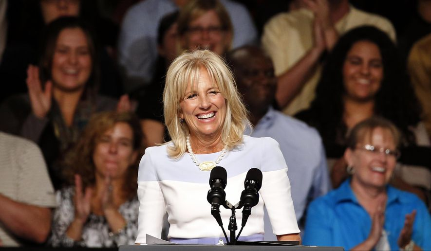 Jill Biden, the wife of vice president Joe Biden speaks at Macomb County Community College Wednesday, Sept. 9, 2015, in Warren, Mich. President Obama announced new steps to expand apprenticeships and a push to make community college free for responsible students. (AP Photo/Paul Sancya)