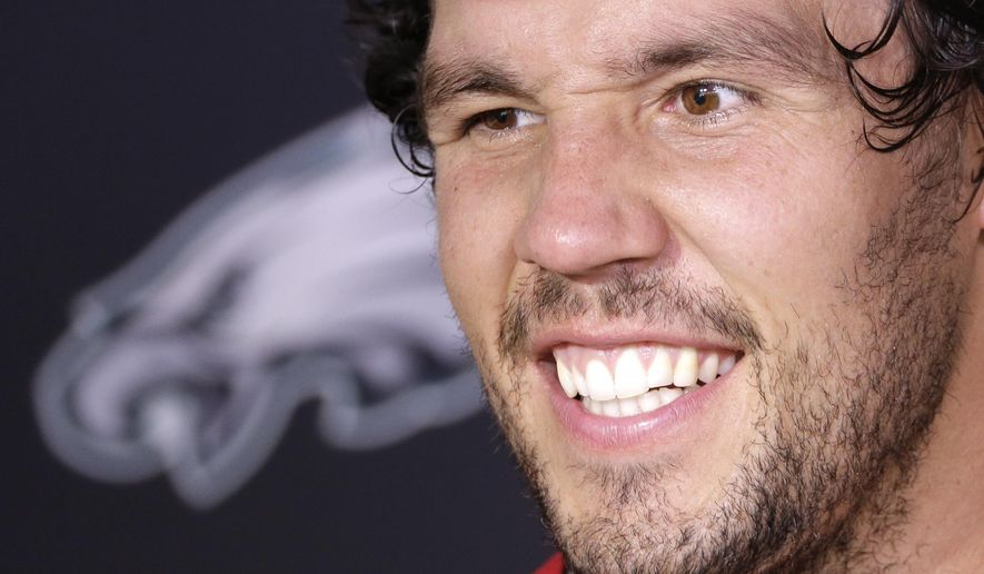 Philadelphia Eagles quarterback Sam Bradford speaks with members of the media at the NFL football team's practice facility, Wednesday, Sept. 9, 2015, in Philadelphia. (AP Photo/Matt Rourke)