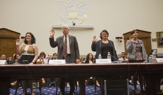 From left, Gianna Jessen, pro-life and disability rights activist, from Franklin, Tenn., James Bopp Jr., National Right to Life, Priscilla Smith, Dir. and Senior Fellow Program for the Study of Reproductive Justice, Information Society Project, Yale Law School, and Melissa Ohden, pro-life supporter from Gladstone, MO., are sworn-in before testifying before the House Judiciary Committee hearing at the Capitol in Washington examining the abortion practices of Planned Parenthood, Wednesday, Sept. 9, 2015. Today's hearing is Congress' first since the Center for Medical Progress, a small group of anti-abortion activists, began releasing videos in July showing Planned Parenthood officials casually describing how they sometimes obtain tissue from aborted fetuses for medical researchers. Backed by analysts it hired, Planned Parenthood has said the videos were dishonestly edited to distort its officials' remarks and has denied any wrongdoing. (AP Photo/Pablo Martinez Monsivais)