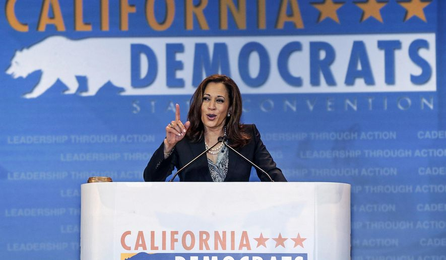 FILE - In this May 16, 2015, file photo, California State Attorney General Kamala Harris speaks to California Democrats at the California Democrats State Convention in Anaheim, Calif. California Republican Party Chairman Duf Sundheim will enter Wednesday, Sept. 4, 2014, the 2016 race for the U.S. Senate seat Democrat Barbara Boxer will vacate. If there is a surprise in the campaign to succeed Sen. Barbara Boxer, it's that the contest has been essentially one-dimensional. Democrat Kamala Harris has had the field mostly to herself, despite early predictions for a crowded political bloodbath. (AP Photo/Damian Dovarganes, File)