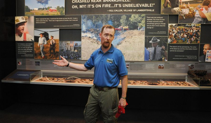 Gordy Felt, president of Families of Flight 93, conducts a media tour of the Flight 93 National Memorial Visitor's Center near Shanksville, Pa., Wednesday, Sept. 9, 2015. The facility will officially open Thursday., Sept.10. Sitting on a hill overlooking the crash site near Shanksville, the $26 million visitor center complex will be dedicated and opened to the public on Thursday, one day before the annual 9/11 observances in Pennsylvania, New York and Washington. Victims' family members got a private tour on Wednesday. (John Rucosky/The Tribune-Democrat via AP) MANDATORY CREDIT