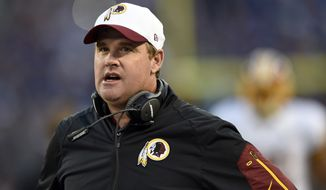 FILE - In this Aug. 29, 2015, file photo, Washington Redskins head coach Jay Gruden walks on the sideline in the first half of a preseason NFL football game against the Baltimore Ravens in Baltimore. In Gruden's first year as an NFL head coach, very little went according to plan, including a rotation of QBs that saw Robert Griffin III, Kirk Cousins and Colt McCoy all start games and then be sidelined by injury, a benching or both.(AP Photo/Gail Burton, File)