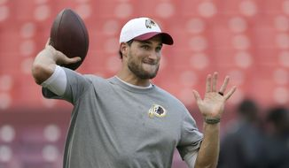 Washington Redskins quarterback Kirk Cousins (8) warms up before an NFL preseason football game against the Jacksonville Jaguars in Landover, Md., Thursday, Sept. 3, 2015. (AP Photo/Mark Tenally)