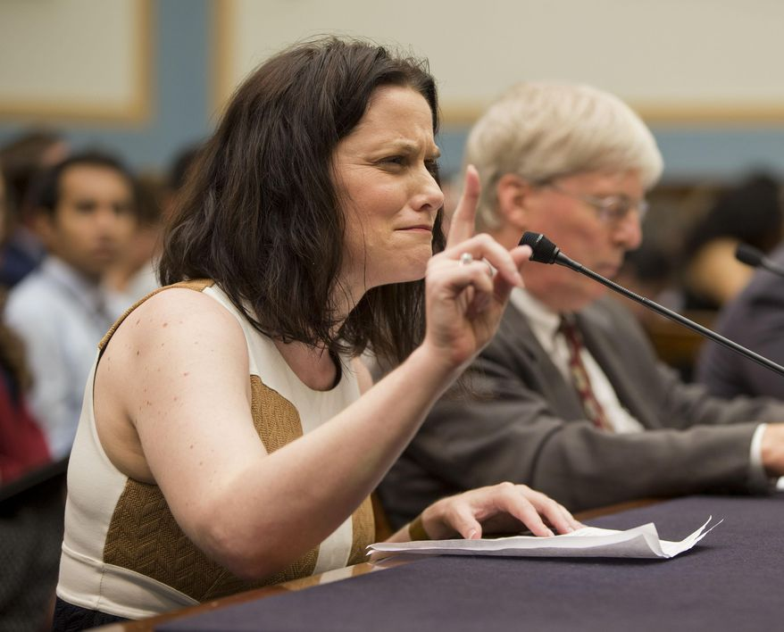 Gianna Jessen, pro-life and disability rights activist, from Franklin, Tenn., left, testifies before the House Judiciary Committee hearing at the Capitol in Washington examining the abortion practices of Planned Parenthood, Wednesday, Sept. 9, 2015. Sitting next to Jessen is James Bopp Jr., right, from the National Right to Life. Today's hearing is Congress' first since the Center for Medical Progress, a small group of anti-abortion activists, began releasing videos in July showing Planned Parenthood officials casually describing how they sometimes obtain tissue from aborted fetuses for medical researchers. (AP Photo/Pablo Martinez Monsivais)