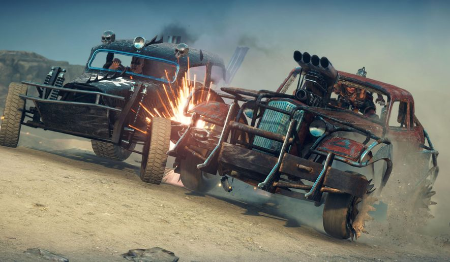 """This photo provided by Warner Bros. Interactive Entertainment shows a scene from the Warner Bros. """"Mad Max"""" video game. (Courtesy Warner Bros. Interactive Entertainment via AP)"""