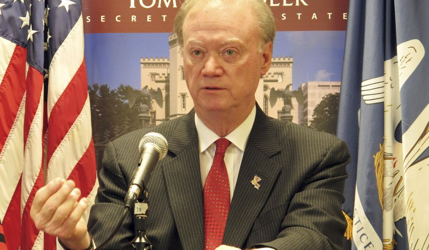 Louisiana Secretary of State Tom Schedler, a Republican, speaks after registering as a candidate for re-election on the Oct. 24 ballot, on Wednesday, Sept. 9, 2015, in Baton Rouge, La. Schedler signed up on the second day of a three-day election qualifying period. (AP Photo/Melinda Deslatte)