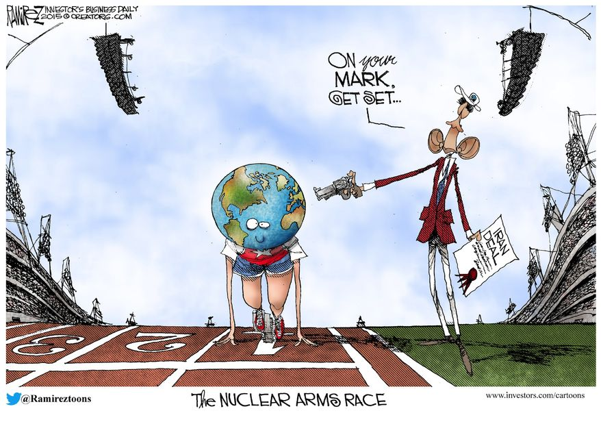 The Nuclear Arms Race (Illustration by Michael Ramirez for Creators Syndicate)