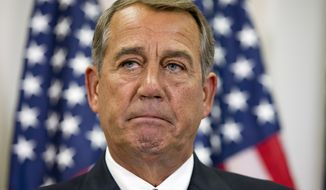 Speaker of the House John Boehner of Ohio, pauses while speaking about his opposition to the Iran deal during a news conference with members of the House Republican leadership on Capitol Hill in Washington, Wednesday Sept. 9, 2015. (AP Photo/Jacquelyn Martin)