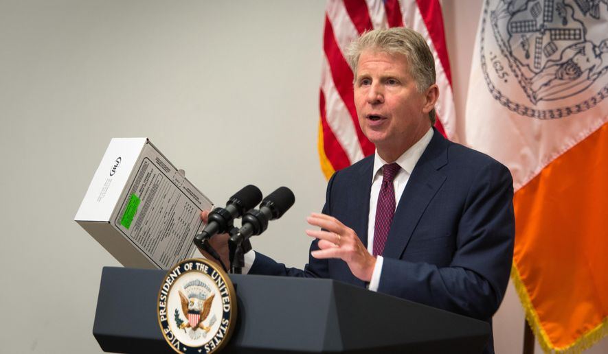 Manhattan District Attorney Cyrus Vance shows a sexual assault kit during a press conference at the Office of the Chief Medical Examiner Thursday, Sept. 10, 2015, in New York. During the event, Vance, Vice President Joe Biden, U.S. Attorney General Loretta Lynch and actress Mariska Hargitay announced almost $80 million in grants to help eliminate a vast nationwide backlog of rape kits. (AP Photo/Kevin Hagen)