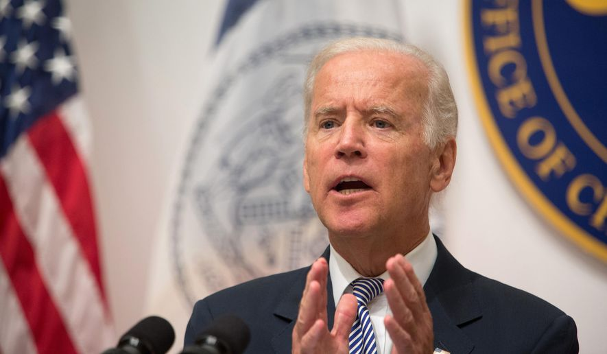 Vice President Joe Biden speaks during a news conference at the Office of the Chief Medical Examiner, Thursday, Sept. 10, 2015, in New York. (AP Photo/Kevin Hagen) ** FILE **