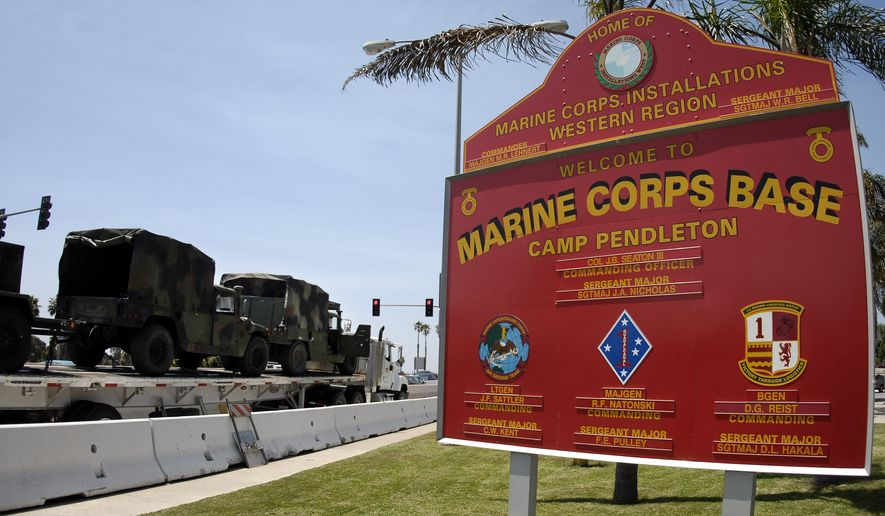 One Marine has been killed and 18 others were injured in a rollover crash during routine training at Camp Pendleton Marine Base. (Associated Press)