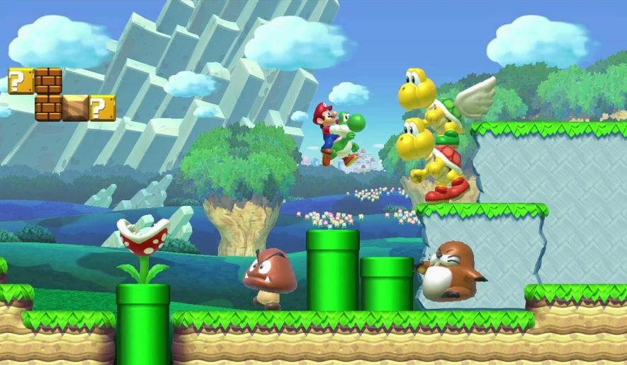 "This photo provided by Nintendo shows a scene from the video game, ""Super Mario Maker."" After three decades of releasing ""Super Mario"" video games, the Japanese gaming giant is inviting players to create their own levels in the bouncy plumber's homeland with the user-generated Wii U title ""Super Mario Maker,"" out Friday, Sept. 11, 2015. (Nintendo via AP)"