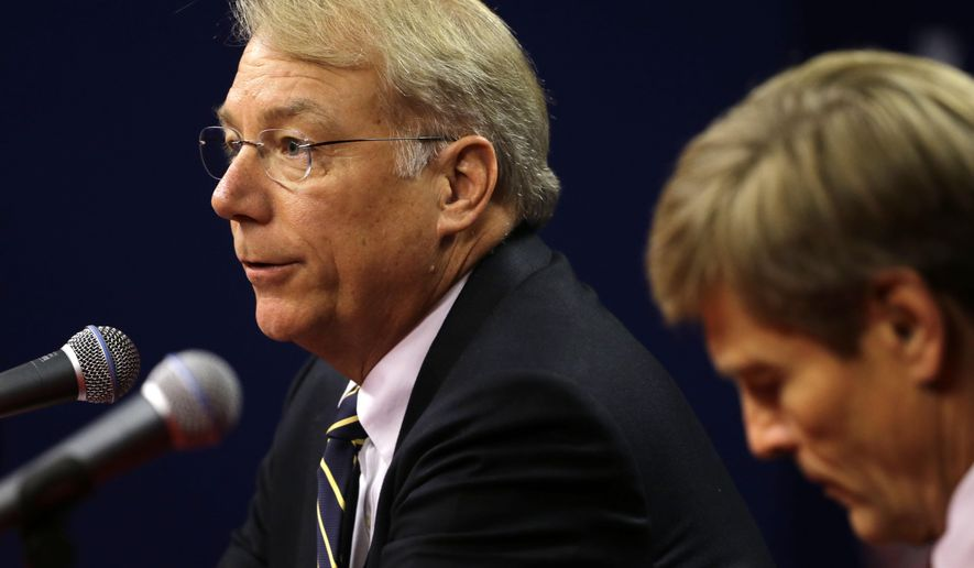 Incoming Philadelphia Phillies president Andy MacPhail, left, and Phillies part-owner John Middleton take part in a news conference Thursday, Sept. 10, 2015, in Philadelphia. The Phillies fired general manager Ruben Amaro Jr. Thursday, with 22 games left in their worst season since 1972. (AP Photo/Matt Rourke)