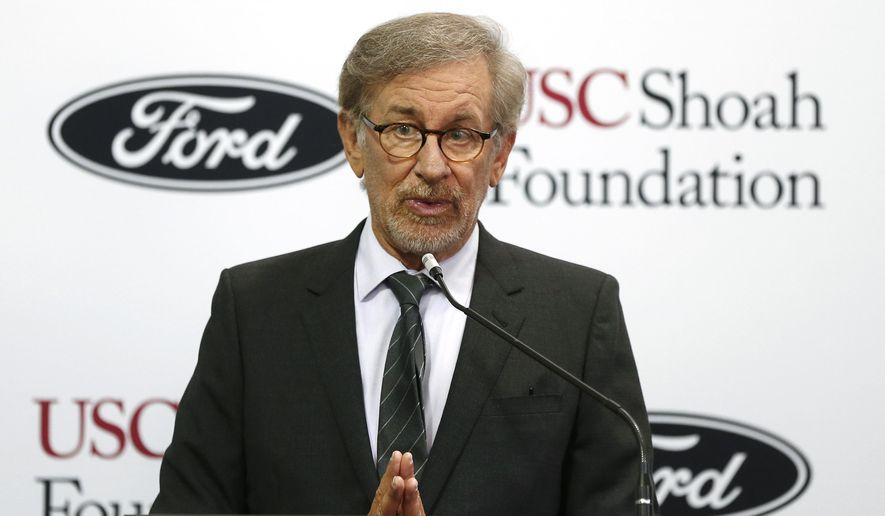 Academy Award-winning director Steven Spielberg, founder of USC Shoah Foundation, speaks Thursday, Sept. 10, 2015, in Dearborn, Mich. Ford Motor Company announced a new partnership involving the USC Shoah Foundation, which uses visual testimonies from survivors to educate people about the Holocaust and other genocides. (AP Photo/Paul Sancya)