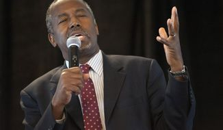 Republican presidential candidate Ben Carson speaks at the Eagle Council XLIV, sponsored by the Eagle Forum, at the Marriott St. Louis Airport in St. Louis Friday, Sept. 11, 2015. (AP Photo/Sid Hastings)