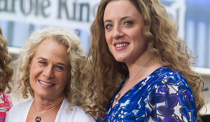 "FILE - In this Aug. 25, 2015 file photo, Carole King, left, and Abby Mueller perform on NBC's ""Today"" show in New York. Mueller has stepped into her little sister Jessie Mueller's shoes to play Carole King in the Broadway musical about King. The tour kicks off in Providence, Rhode Island, on Tuesday and makes stops in North Carolina, Washington, D.C., Pennsylvania, Massachusetts, Minnesota, Illinois, Missouri, New York, Ohio, Florida, Georgia, Texas, California and Colorado. (Photo by Charles Sykes/Invision/AP, File)"