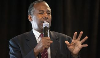Republican presidential candidate Ben Carson speaks during the Eagle Council XLIV, sponsored by the Eagle Forum, at the Marriott St. Louis Airport in St. Louis Friday, Sept. 11, 2015. (AP Photo/Sid Hastings)
