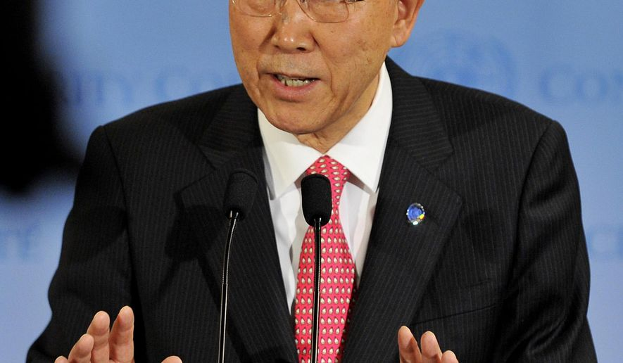 """File-This March 24, 2011, file photo shows United Nations Secretary General Ban Ki-Moon speaking after a Security Council meeting at United Nations headquarters in New York. The U.N. chief is taking aim at sexual abuse by peacekeepers, calling it """"one of my greatest disappointments"""" and saying he will repatriate the troops of countries that don't act on allegations. The U.N. has already started to suspend payments to countries when allegations are credible. Ban Ki-moon's statements are in response to the first comprehensive assessment of peacekeeping in 15 years and largely agree with a high-level panel's suggestions for a major overhaul. (AP Photo/Stephen Chernin, File)"""