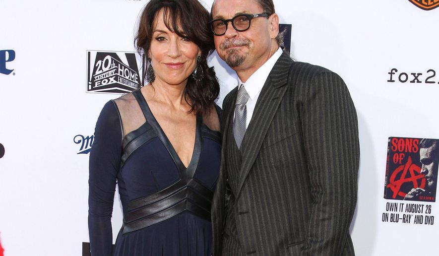 "FILE - In this Sept. 6, 2014 file photo, Katey Sagal, left, and  Kurt Sutter attend the LA Premiere Screening of ""Sons Of Anarchy"" in Los Angeles. Sagal stars in Sutter's newest series,  ""The Bastard Executioner,"" premiering Tuesday at 10 p.m. on FX. (Photo by Paul A. Hebert/Invision/AP, File)"