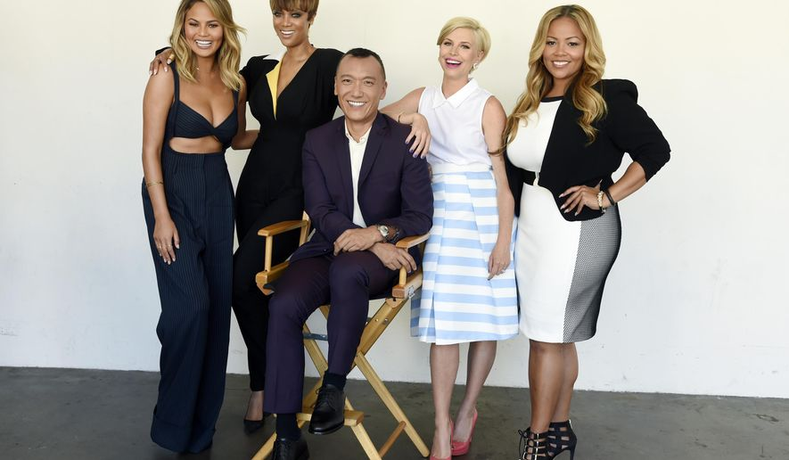 "FILE - In this Aug. 4, 2015 file photo, co-hosts, from left, Chrissy Teigen, Tyra Banks, Joe Zee, Leah Ashley and Lauren Makk, from the lifestyle talk show ""FABLife,"" pose at the 2015 Television Critics Association Summer Press Tour in Beverly Hills, Calif. The syndicated daily lifestyle talk show premieres in North America on Sept. 14. (Photo by Chris Pizzello/Invision/AP, File)"