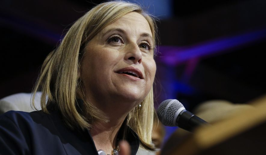 Megan Barry speaks to supporters after she was declared the winner in the Nashville mayor's race Thursday, Sept. 10, 2015, in Nashville, Tenn. (AP Photo/Mark Humphrey)