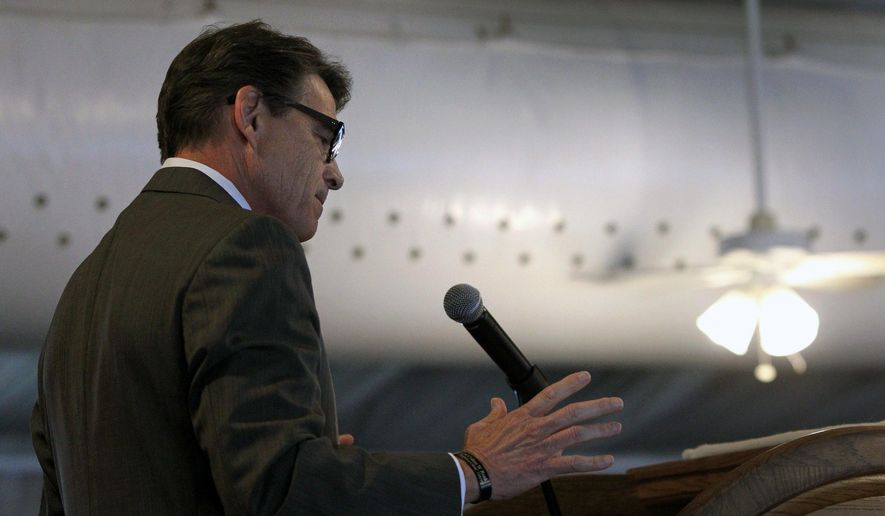 Former Republican presidential candidate and former Texas Gov. Rick Perry speaks during the Eagle Council XLIV, sponsored by the Eagle Forum, at the Marriott St. Louis Airport in St. Louis, Friday, Sept. 11, 2015. (Robert Cohen/St. Louis Post-Dispatch via AP) ** FILE **