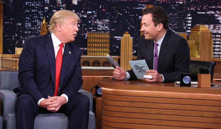 """Republican presidential candidate Donald Trump appeared on NBC's """"Late Night,"""" where host Jimmy Fallon makes him a regular butt of jokes. (Associated Press)"""